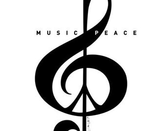 Music & Peace Treble Clef With Peace Sign Typography Art Print