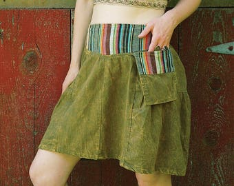 Size Medium... Versatile Boho Gypsy Hippie Festival Skirt With Guatemalan Woven Details and Pocket