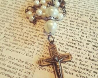 Antique Religious Catholic Cross Crucifix Relic Assemblage Pearl Necklace Repurposed Antiques