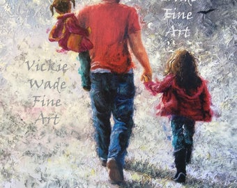 Father Two Daughters Art Print, walking with dad, dad and two daughters walking, two girls, two sisters, father's day gift, Vickie Wade Art