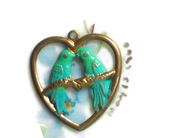 Vintage bird charm, brass Charm, Birds charm,Patina charm, Green Blue Bird Bluebird Heart Kissing, Bird lovers, bird charms, #48Q