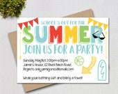 Pool Party Invitation/ End of Year Party / School's Out for the Summer / PRINTABLE INVITATION / #42543