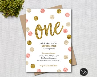 Pink and Gold First Birthday Invitation, Pink Gold Glitter ONE Printable Digital Invitation, 1948 2