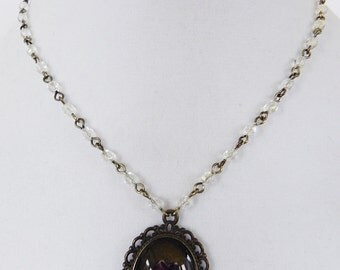 Cameo Necklace Brass Pendant with Pressed Cherry Blossom Flower and Crystal chain