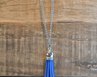 Blue and Silver Tassel Necklace