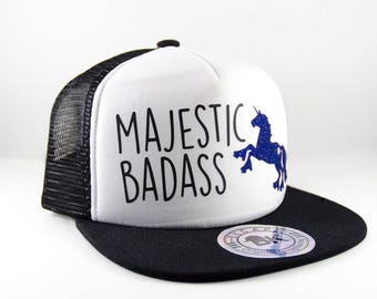 Black Roller Derby Hat || Roller Skating Unicorn || Majestic Badass || Snapback Cap || Flat Bill Hat || Roller Derby Clothing