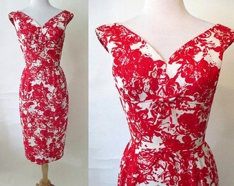 Charming 1950's Designer Cotton  Cocktail Party Dress with shelf bust by Edward Abbott pinup girl VLV Rockabilly Size  Small