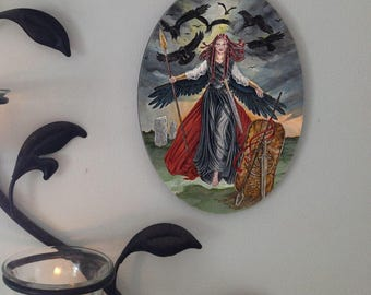 The Morrigan Oval Tile Wall Hanging by Mickie Mueller