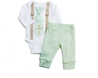 Mint & Gold Baptism Outfit for Boys. Baby Boy Baptism Set with Pants. Baptism Tie. Newborn baptism outfit. Toddler boy baptism clothes.