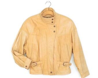 Vintage Leather Jacket * Leather Moto Jacket * Blonde Leather Jacket * Large