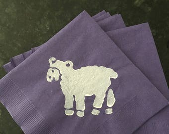Purple and White Lamb Paper Cocktail Napkins