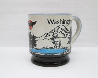 Vintage Embossed Washington State Souvenir Mug