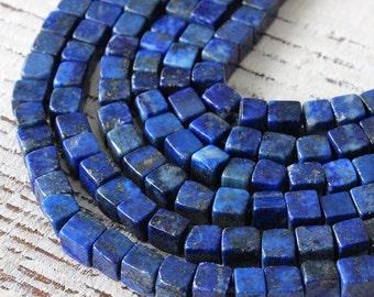 4mm Lapis Lazuli  Cube Beads - 4mm Gemstone Cube Beads - Jewelry Making Supplies - Choose Amount