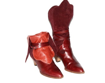 YVES SAINT LAURENT Vintage Burgandy Suede Orange Wrap Strap Ankle Boots 7