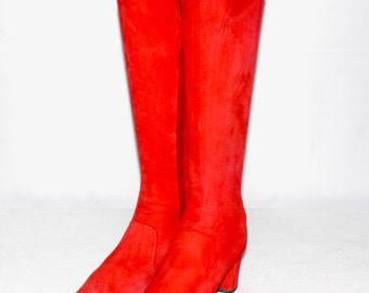 BATTANI Vintage Suede Go-Go Boots Bright Red Booties 6-6.5