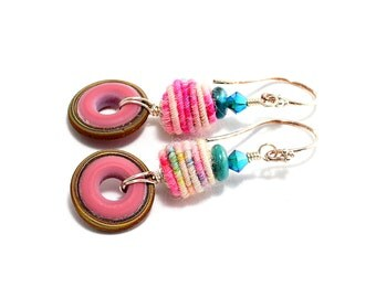 Colorful Lampwork Bead Earrings. Pastel Fiber Bead Earrings. Small Boho Chic Earrings. Lampwork Glass Hoops. Glass Bead Jewelry.