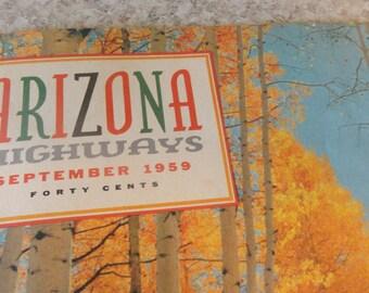 Vintage ARIZONA 1959 Arizona Highways magazine color pics guns by mail
