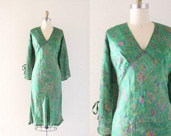 S A L E sheer botanical bell sleeve dress