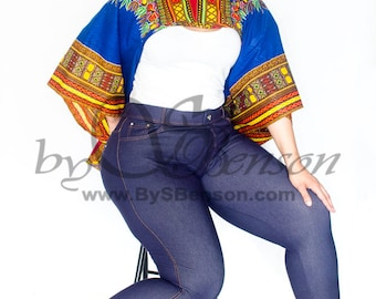 Blue Dashiki  African Print Shrug - One Size