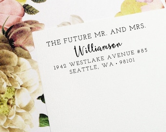 Future Mr and Mrs, Mr and Mrs, Self Inking Address Stamp, Wedding Stamp, Save the Date Stamp, Return Address Stamp, Custom Stamp - Style #77