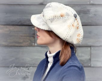 Slouchy Newsboy Hat, Rustic Canvas Eco Dyed Rust Dyed Fabric