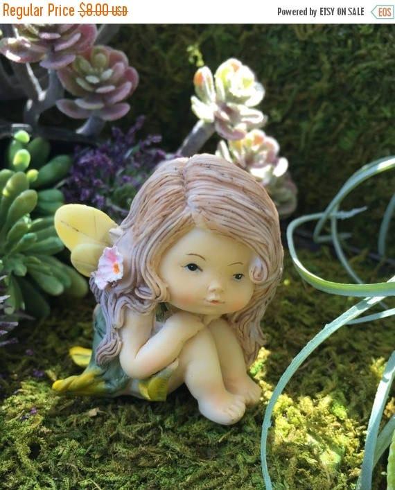 SALE Sweet Little Fairy Girl Figurine, Little Fairy Style 4261, Miniature Garden Decor, Fairy Garden Accessory, Topper