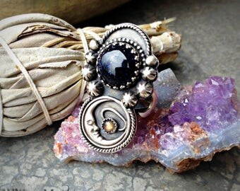 Ode to the Night - Blue Goldstone and Fiery Labradorite Sterling Silver Handcrafted Ring - Your Size - Moonchild Boho - Moon - Sandstone