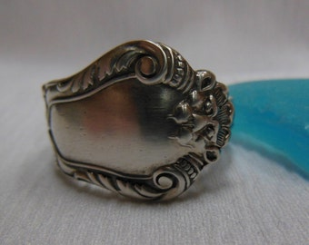Antique Spoon Ring  Sterling Silver  Size12.5