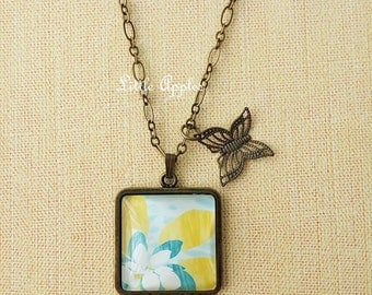Flower painting glass tile pendant necklace bronze butterfly charm yellow blue white artist gift