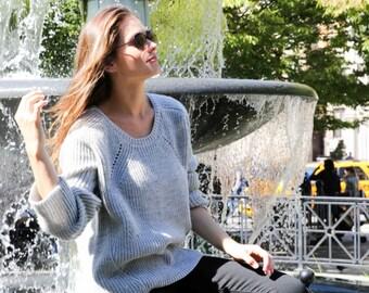 NEW Wool Sweater / Asymmetric Blouse / Oversized Cardigan / Black Jumper / High Low Sweater / marcellamoda k - MB735