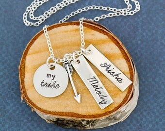 My Tribe Gift Mom Jewelry Mother Gift Friend Tribe Necklace • Bridesmaid Custom Bride Gift My Girls • Love Arrow Cupid •Friend Stocking Gift