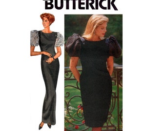 "80s RIMINI Butterick 4463 Puff Sleeve Prom Wedding Formal Special Occasion Dress Pattern Bust 31 1/2 - 34"" Size 8 10 12 UNCUT Factory Folded"