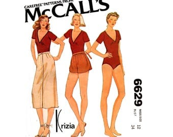 McCall's 6629 Designer 1970s Bodysuit Skirt Wrap Shorts Vintage Sewing Pattern Size 12 Bust 34 Inches
