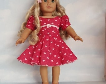 18 inch doll clothes- Valentine Heart Dress handmade to fit the American Girl Doll - FREE SHIPPING