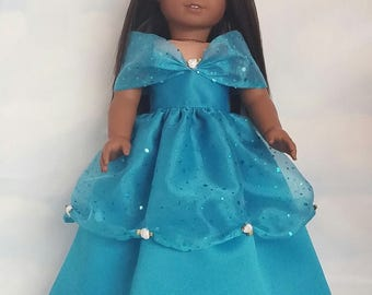 18 inch doll clothes - Turquoise Princess Gown made to fit the American Girl Doll - FREE SHIPPING