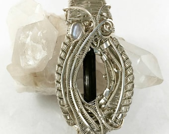 Moonstone Pendant with Black Tourmaline and hidden Golden Apatite, Sterling Silver Wire Wrapped Jewelry  - Moon Scarab