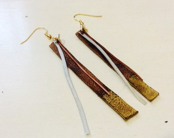 Mixed metal and leather earrings