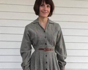 40s Gray Wool Dress Joan Miller 1940s Vintage XS