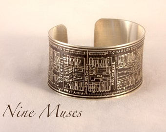 Nine Muses - Sterling Silver Cuff Bracelet of New Orleans Historical Map