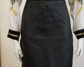 Vintage 90s High Waisted Black Genuine Leather Skirt