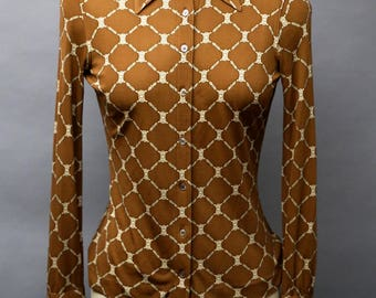70s CELINE chocolate brown beige Silk Jersey knit equestrian link Printed Blouse top sz 42 Small vintage 1970s