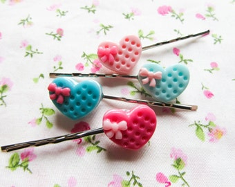 Kawaii Cookie Hair Pins / Bobby Pins, Cute Hair Pins / Bobby Pins, Kawaii, Sweet Lolita, Cute, Hearts, Teen/ Girls Gift