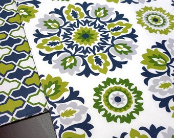 Spring Summer Placemats - Blue Green Reversible Placemats - Heat Resistant -Set of 2, 4 or 6
