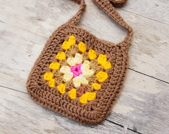 Vintage 70s-80s Tiny Crochet Granny Square Purse/Boho/Hippie/Retro