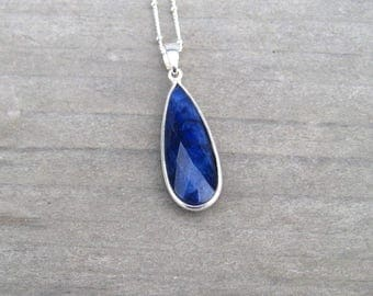 Sterling Silver Sapphire Necklace, Navy Blue, Bezel Set Natural Sapphire, September Birthstone Jewelry, Large Sapphire Pendant