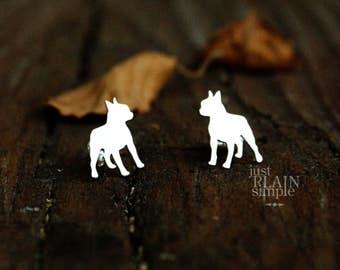 Boston Terrier earrings, sterling silver, tiny silver hand cut dog earrings with heart