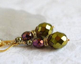 Olive Green Bohemian Czech Glass Drop Earrings Iris Violet Purple Earrings Moss Green Boho Dangles Antique Gold Leaf Earrings Gift for Her