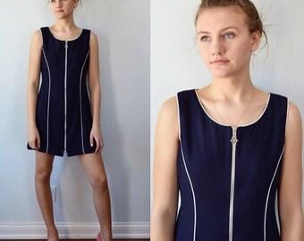 Vintage  Dress, Sporty Dress, 1970s, Vivianne,  Navy Blue,  Zipper Front Dress, Sleeveless Dress, Short Dress,  Dress, Casual Dress