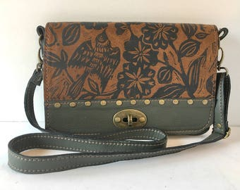 """Leather convertible clutch, small messenger bag, olive green, sparrow print, """"The Emma"""""""