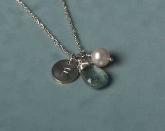 Aquamarine necklace personalized, initial necklace for her, March birthstone jewelry personalised, March birthday gift for daughter  - Ella